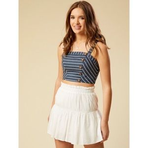 Altar'd State Striped Cropped Tank With Buttons